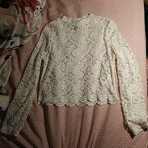 Lace Cream H&M Long Sleeve Blouse